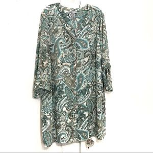 CATHERINES/BUTTON FRONT TUNIC BLOUSE/SIZE 3X/F7
